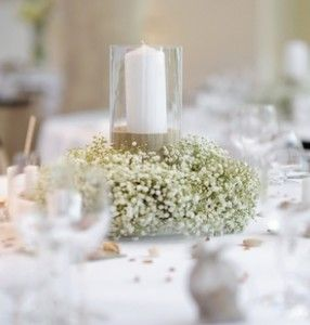 Vintage Gathering Wedding Flowers: Imagine much less Gysophila, so not as wide a garland around the mirror plate.