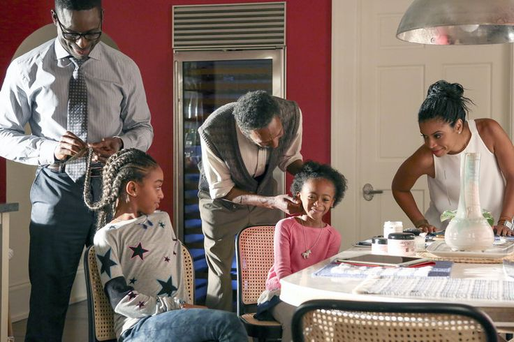 Randall and Beth's daughters getting their hair fixed by their dad and grandpa. 'This Is US'- Season 1, Episode 4: ''The Pool''.