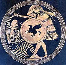 Combat entre un guerrier perse et un guerrier grec, kylix grec du vesiècle av.J.-C..