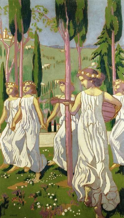 'der tänzer (auch bekannt als ewig sommer, `wiesbaden` )', öl auf leinwand von Denis Maurice (1870-1943, France)