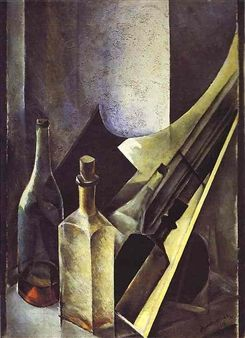 Still Life. Colored Bottles and Planes By Natan Altman ,1918