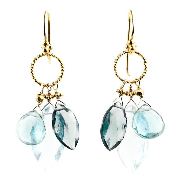 Good things come in threes, and the trio of blue quartz in these earrings is no exception. The range of colors in this pair is breathtaking—add to these hues the rich gleam of 22k gold vermeil and you've got an easy favorite that wears beautifully with all your go-to looks. - Robindira Unsworth