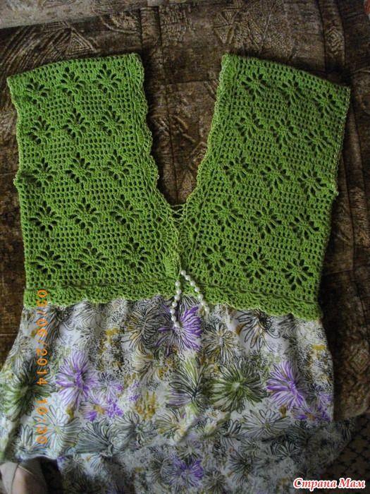 """Платье - сарафан """"Летняя свежесть"""" (вязание+ткань) - Вязание - Страна Мам"""