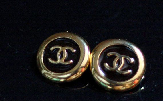 Chanel Logo 90s Brown Enameled Buttons by Bijouxhouse on Etsy, $70.00