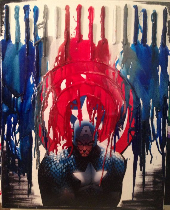 20inx16in Captain America Crayon Melt Art Check out the video and more on my YouTube Channel! http://www.youtube.com/playlist?list=PL95mGvRrM14nTmsWzyiunYF5TXTcWs1Ny