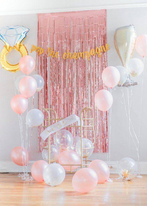 29 Piece Bridal Shower Kit – Pink Rose Gold Party Decor, Bachelorette Backdrop, Engagement Party Dec