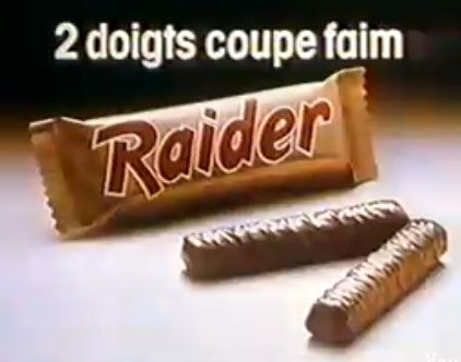 """Et oui avant Twix, c'était """"Raider, 2 doigts coupe faim"""""""
