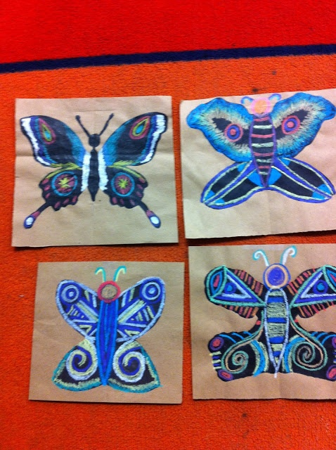 Blotto Butterfly with construction paper crayons and silver sharpie -Drip, Drip, Splatter Splash, Art Education Blog
