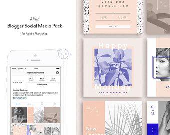 Social Media Pack — 15 Square PSD Instagram templates — Social Media Kit 4 Ladypreneurs — Feminine Instagram Post Templates — Beauty • Alrun