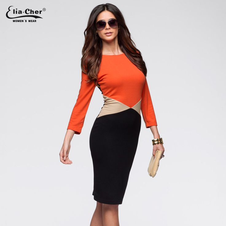 Elegant Color-block Round Neck Long Sleeve Wear to the Office Dress //Price: $49.39 & FREE Shipping //     #hashtag3