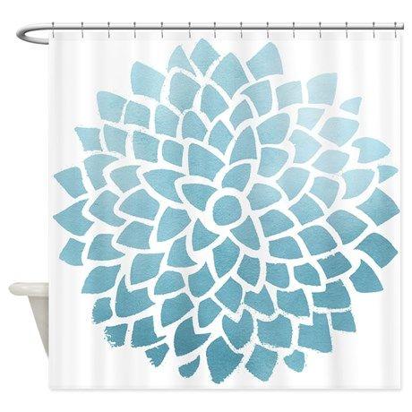 Cloudy Blue Dahlia Shower Curtain on CafePress.com