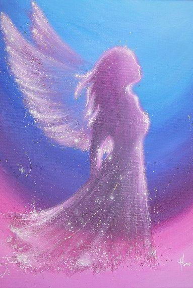 HendriettesArt. Limited angel art photo, digital print, abstract contemporary angel painting, artwork, frame, guardian