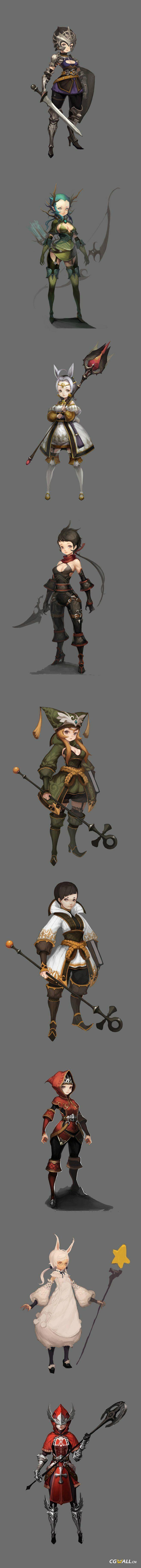 CGwall游戏原画网站_q版设定职业类型图,法师,战士,弓箭手,刺客