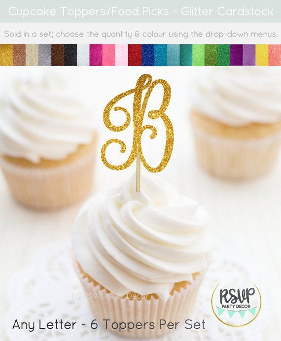 Letter Cupcake Toppers, Custom Initial Cupcake Toppers, Monogram