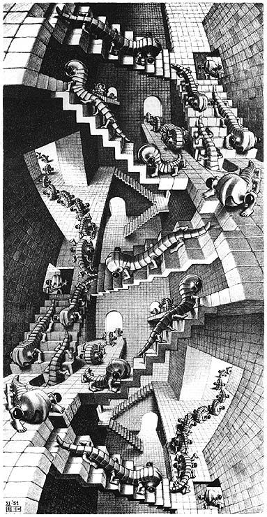 """M.C. Escher - """"House Of Stairs"""", lithograph, 1951 Lucky enough to have this on my wall as well.  One of my favorites!  Thanks mom and dad."""