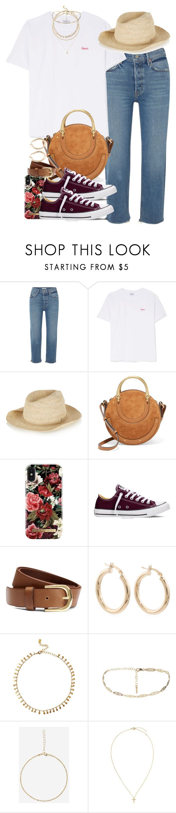 """""""Sin título #4618"""" by hellomissapple ❤ liked on Polyvore featuring GRLFRND, Double Trouble Gang, Sensi Studio, Chloé, iDeal of Sweden, Converse, H&M, Chan Luu and Jag"""