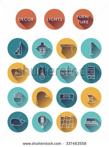 Collection of round icons of Interior elements with Long Shadow. Loft and Flat style. Vector illustration - stock vector