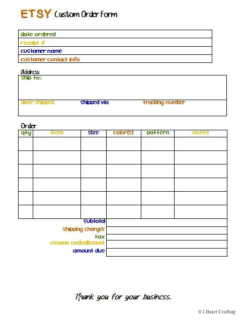 I Heart Crafting: Free Printable Etsy Custom Order Form