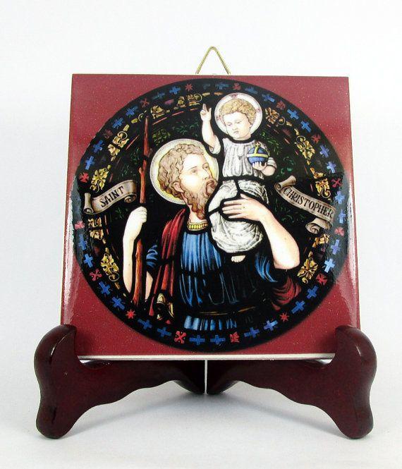 Religious gift  Saint Christopher  catholic by TerryTiles2014