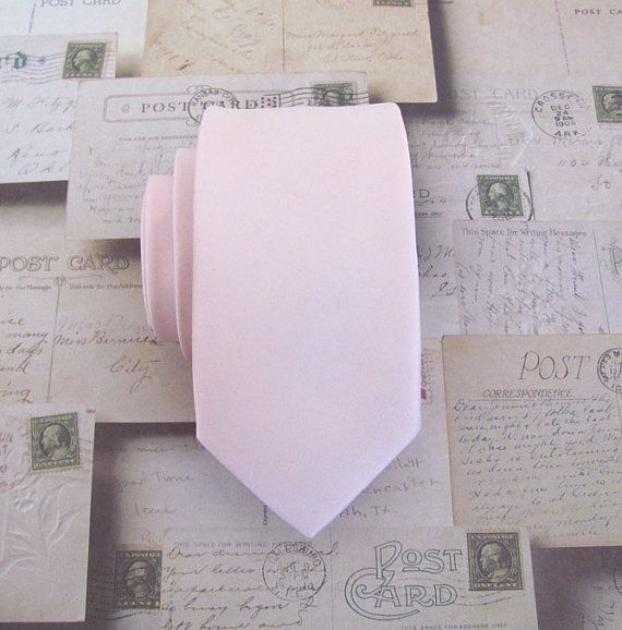 Mens Ties Pink Tie Skinny Tie - David's Bridal Petal Inspired Pale Pink Skinny Necktie With Matching Pocket Square Option
