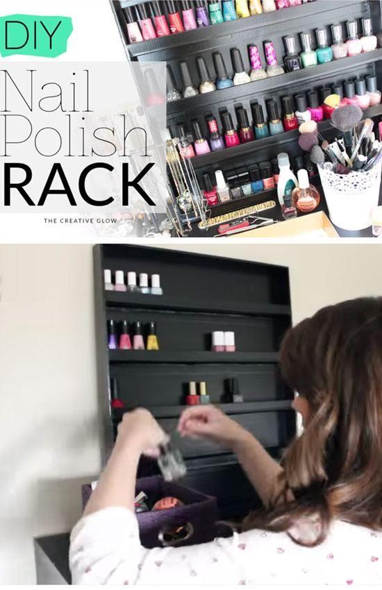DIY Nail Polish Rack   24 DIY Teenage Girl Bedroom Decorating Ideas