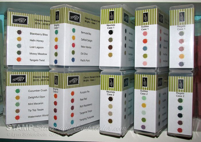 Updated Labels for Ink Storage using half-size stamp cases from Stampin Up. FREE PDFS available for all inks from current catalog.