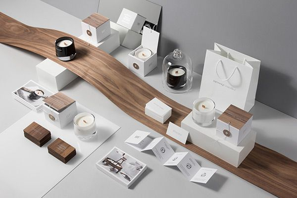 packaging minimalist wood theme | message candles