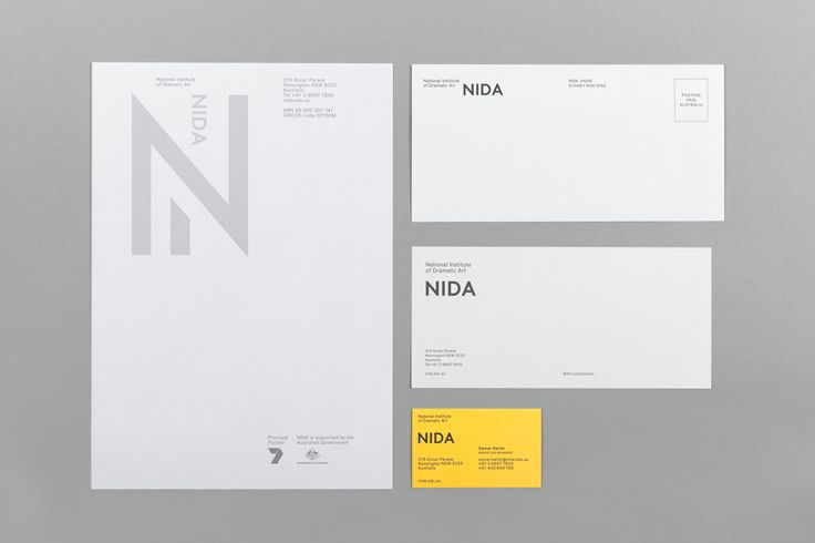 Brand identity and stationery designed by Maud for The National Institute of Dramatic Art