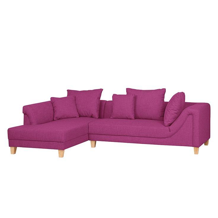 Hoekbank Slider - roze stof – longchair links