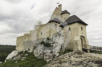 The old castle in the village of Bobolice in Poland