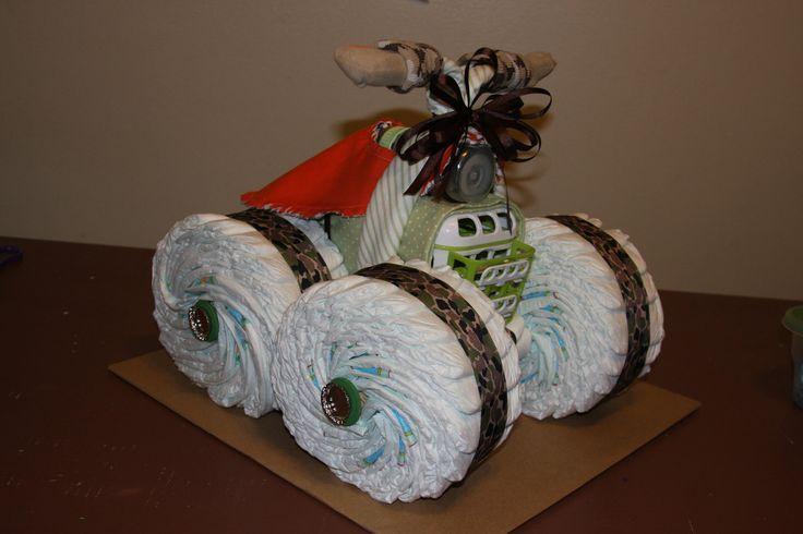 diy camo baby shower gift   Uniique 4 wheeler diaper cake... by LonestarLinens on Etsy