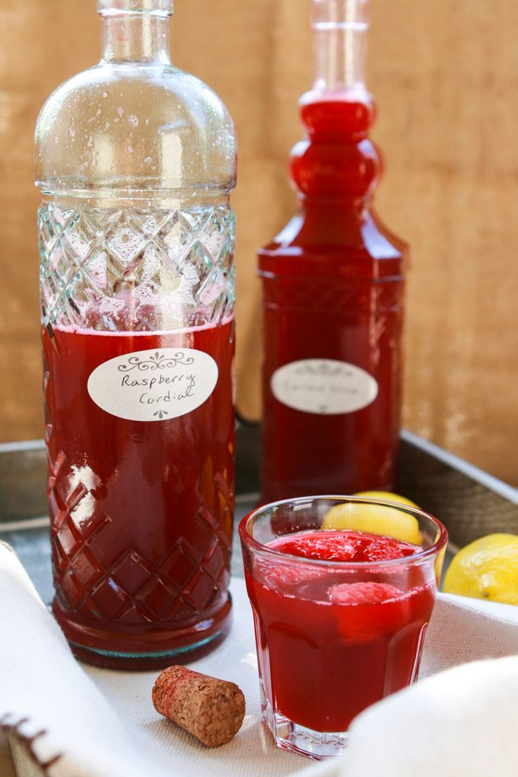 Raspberry Cordial  • Serves 6.  • Ingredients:  • 2- 12 oz. bags of frozen raspberries (I used Trader Joe's organic)  • 1 cup sugar  • 4 cups water  • 4 medium lemons  • fresh raspberries to garnish ••• Adapted from Diana Barry's Favourite Raspberry Cordial by Kate Macdonald in The Anne of Green Gables Cookbook - (Less Sugar)