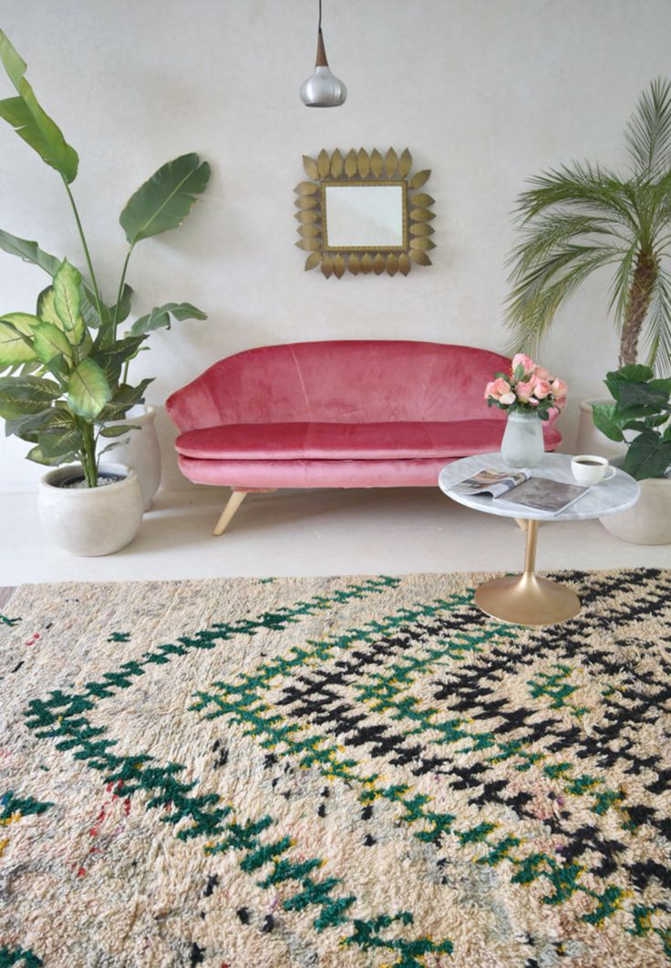 Vintage Moroccan Boucherouite Rug | Pink Rug Co. on Etsy