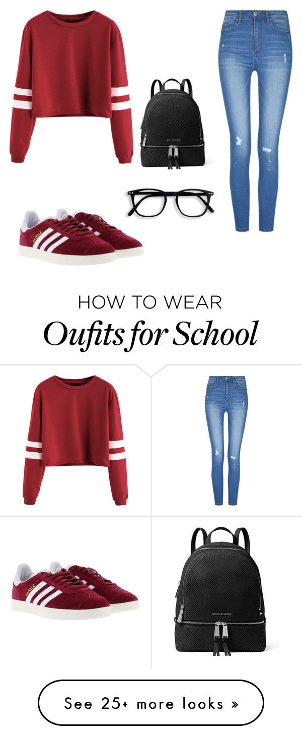 """Outfits for school"" by mercedes9708 on Polyvore featuring adidas and MICHAEL Michael Kors"