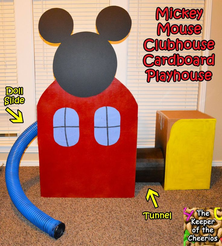Mickey Mouse Clubhouse Cardboard Playhouse, Life Size Playhouse with tunnel access and an added doll slide