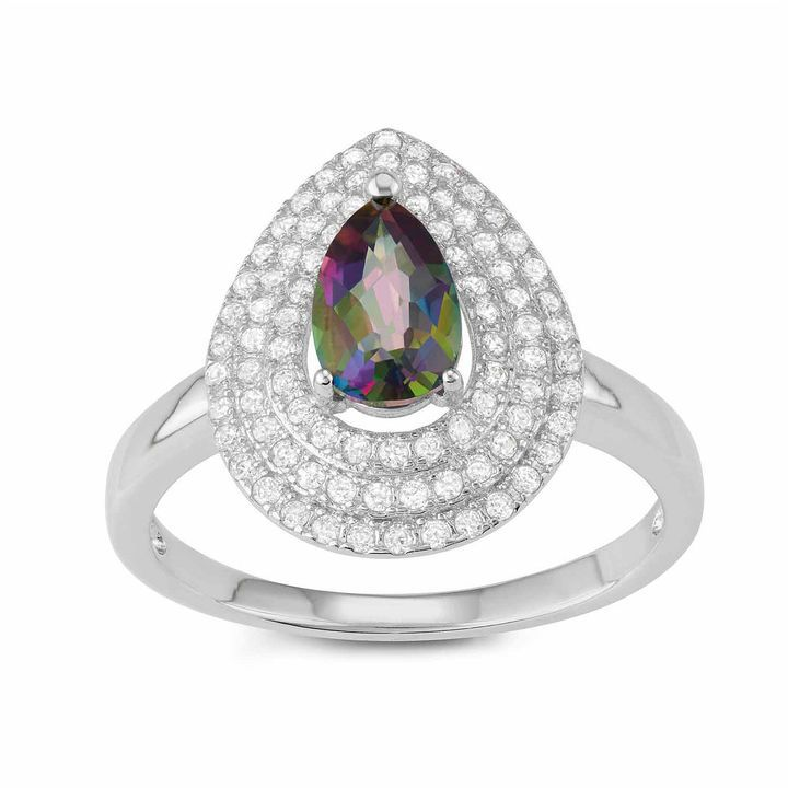 FINE JEWELRY Womens Genuine Green Mystic Fire Topaz Sterling Silver Cocktail Ring