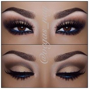 Eye makeup to die for! I would've never thought of the blue liner but that's what MAKES the entire look!