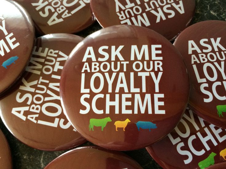 100mm or 75mm Ask me button pin badges are a great way to promote a product or loyalty scheme.