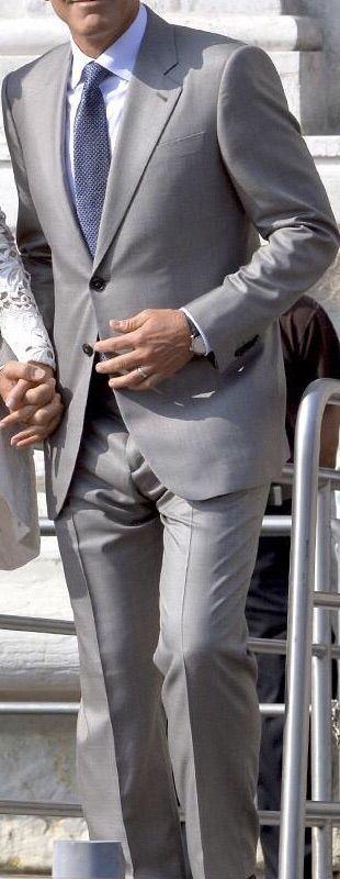 Light Grey Suit . White Shirt . Blue Tie