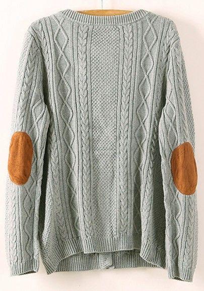 Grey Geometric Appliques Pockets Wrap Cotton Blend Cardigan