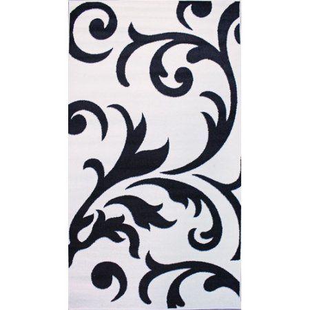 Super Area Rugs, Metro Stain-Resistant Ivory & Black Damask Rug, 8' x 10', Beige