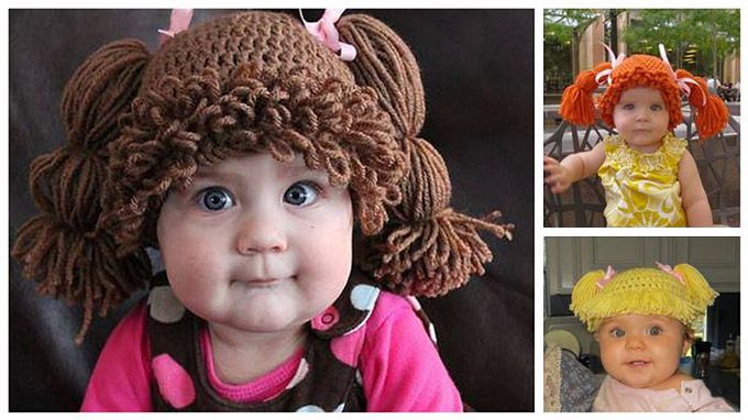 Cabbage Patch Kids Knitted Hats - I don't even know which board this goes on; it's funny, but I want it, but I maybe could make it. Bottom line: all babies need these!