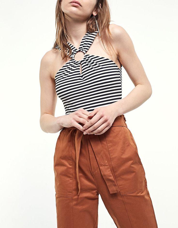 Striped bodysuit with ring trim