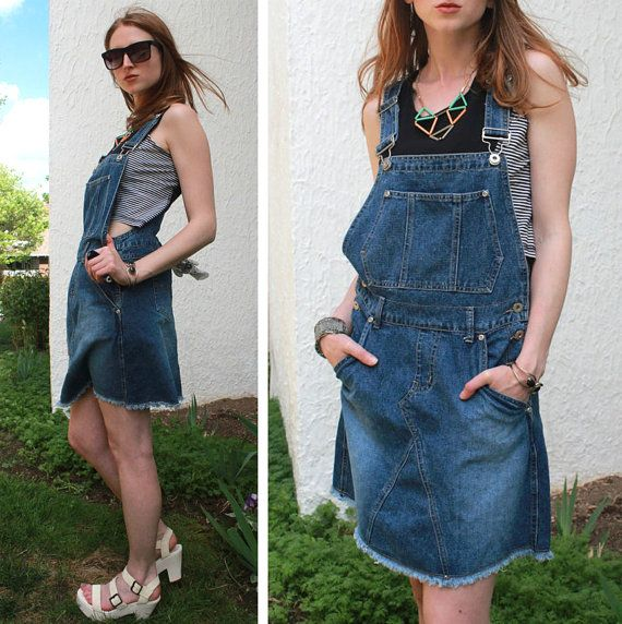 blue denim bib jean overalls dress skater skirt vintage