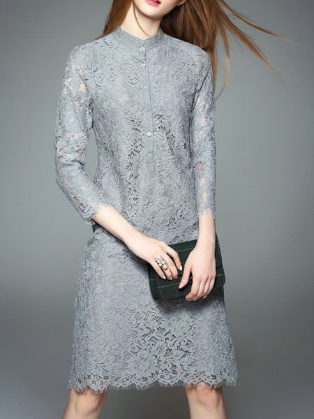 Pierced Lace Midi Dress