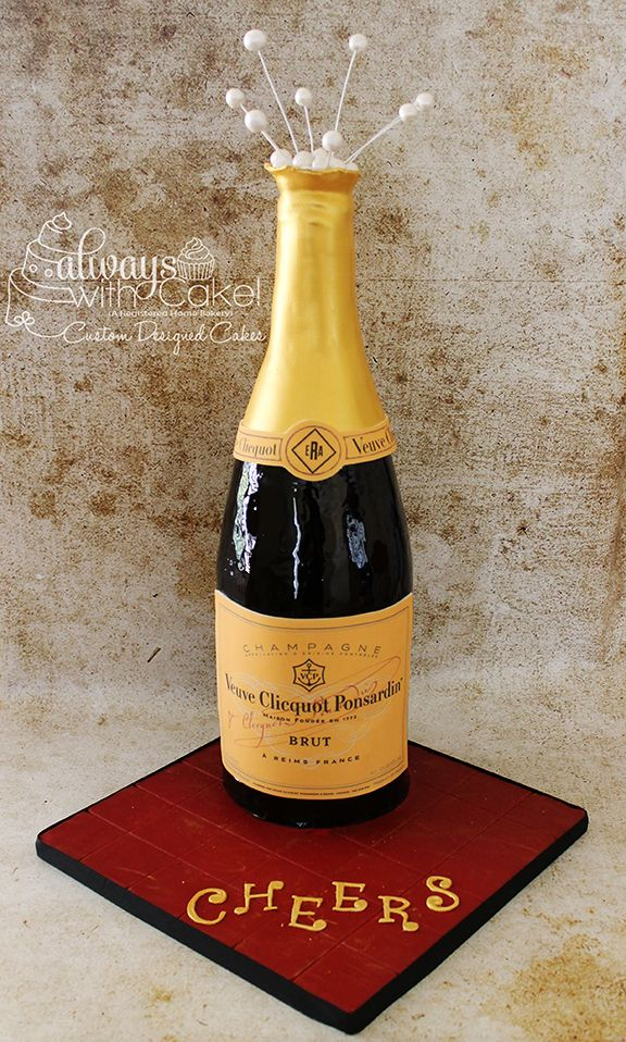 "Champagne Bottle - I did this cake for a couple of friends. Cake stood over 24"" tall. Cake is carved and covered in MMF. TFL"