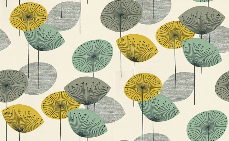 Dandelion Clocks (DOPWDA104) - Sanderson Wallpapers - A fun and funky retro 50's design with stylised dandelion flowers in bold colour combinations. Available in 4 colours – shown in yellow, grey and green on a light base. Please ask for a sample for true colour match.