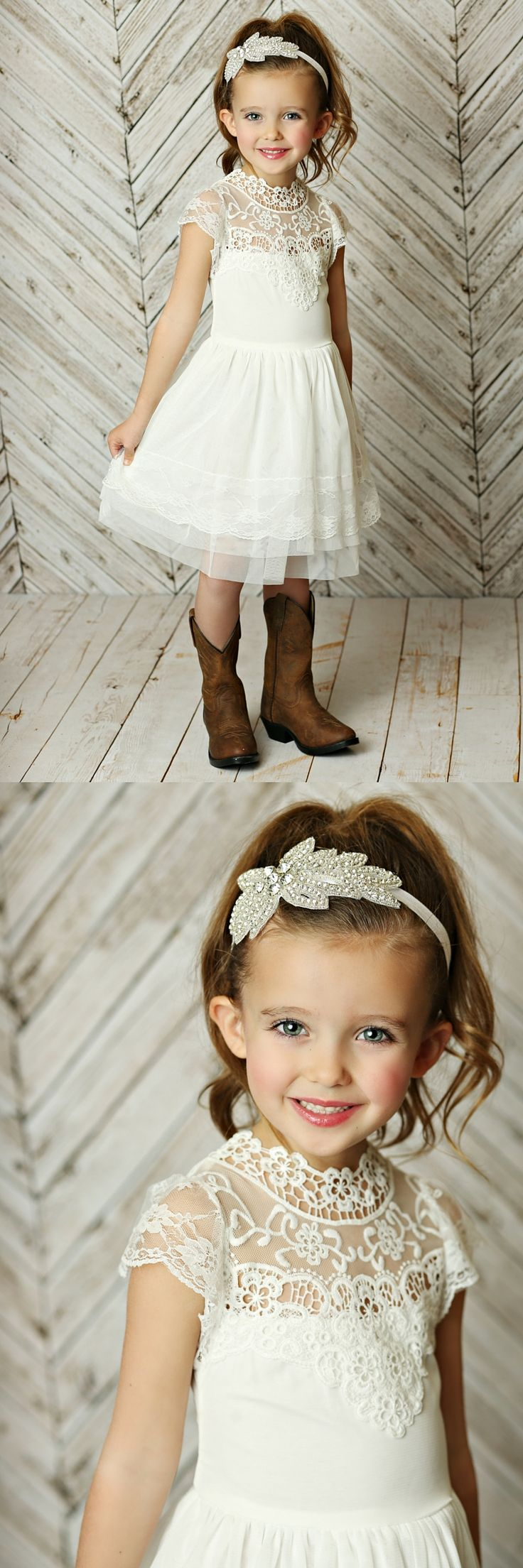 This white lace dress has so many beautiful details. Made of soft and delicate fabrics in a stunning white color this cute flower girl dress is perfect for any occasion. The skirt is made of multi layer tulle for extra volume. The top of the dress is made of beautiful delicate crocheted detailed neckline. SHOP http://thinkpinkbows.com/products/believe-in-the-magic-dress-ivory-gold | Country Kids Fashion | Rustic Girls Dresses for Weddings | Girls Vintage Clothing