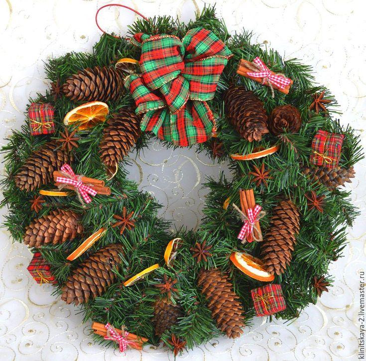 Купить Большой новогодний, рождественский венок в эко стиле - тёмно-зелёный, новогодний венок