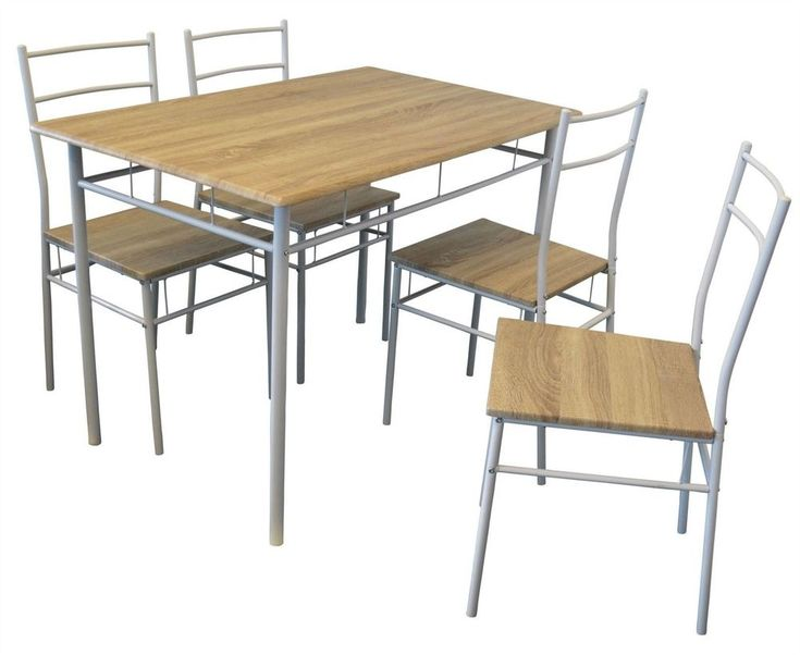 Farmhouse Dining Table 4 Chairs Industrial Kitchen Small Furniture Set Country